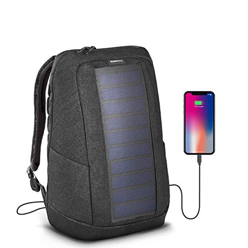 SunnyBAG Iconic Solar-Rucksack mit integriertem 7 Watt Solar-Panel | USB-Anschluss | Wireless-Charging | Laptop-Fach für 17-Zoll-Notebook | 20 Liter | Wasserabweisend | Graphite