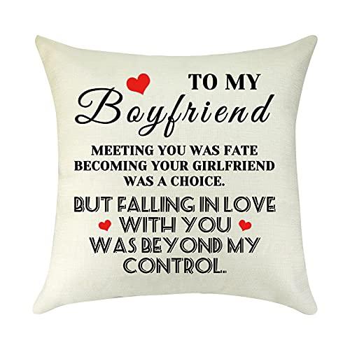 to My Boyfriend Anniversary Birthday Gift from Girlfriend Pillow Cover...