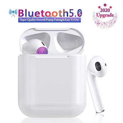 Auriculares Bluetooth 5.0 Auriculares Bluetooth Inalámbrico 650mAh 20H Tiempo De Juego Audio Stereo 3D in Ear con Mic, IPX5 Resistentes al Agua para Apple Airpods Android iPhone Blanco