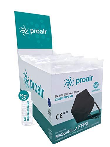 Mascarilla FFP2 Homologada Certificado CE 2834-5 capas - Caja Expositor 50 Unidades COLOR NEGRO + 5 ud. llaveros de gel hidroalcohólico + Ajustador