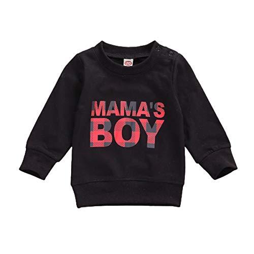Sudadera de manga larga con estampado de letras sólidas para bebés y niños, para otoño e invierno, A negro, 18 meses