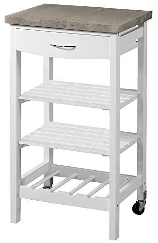 Kesper Mobiler Küchenwagen mit Schublade und Arbeitsplatte, 47 x 85 x 37 cm, 3 Ablage Böden, Wein-/Sektflaschen, FSC-Holz, weiß/Beton Dekor