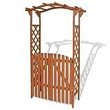 vidaXL Solid Wood Garden Arch w/Gate Outdoor Arbor Plant Climbing Support