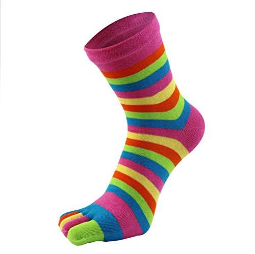 YUEMING 2 Paar Dames TeenSokken,Gekleurde ToeSox Socks, Plain Sportsokken,Multipack Huissokken, Enkelsokken,Fine Woman Sokken