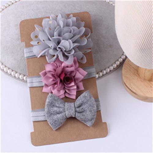 Miougioewq Kinder-Stirnbänder, Blume, Knoten, Schleife, Haarbänder für Kinder grau