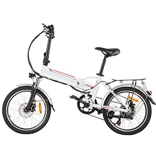 Speedrid Elektrofahrrad E Bike 20/26 Zoll Elektrisches Fahrrad mit 36V 8Ah/12.5Ah Lithium-Batterie, 250W Stabile bürstenlosem Motor und Professionelles Getriebe (ANEB005-Rambler Faltbar Weiß, 20Zoll)