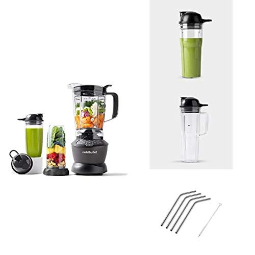 Lowest Price! NutriBullet Blender Combo Bundle with 20oz Cup, 24oz Cup and 4pk Stainless Steel Straw...