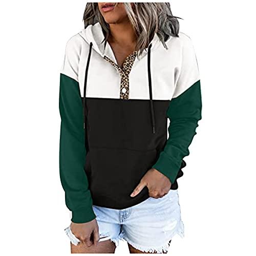 SoeHir Womens Blouse Casual Pullover Button Down Hoodies Drawstring Hooded Pocket Long Sleeve Sweatshirts Green