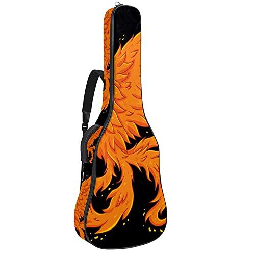 Paquete de guitarra acústica para principiantes, tamaño completo, con tapa de abeto, con corte en la parte superior de abeto, dibujado a mano, hermoso pájaro fénix 42,8 x 11,9 cm