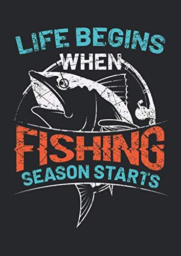 Notizbuch A4 dotted, gepunktet, punktiert mit Softcover Design: Angler Spruch Life Begins Angelsaison Spruch Big Game Fish: 120 dotted (Punktgitter) DIN A4 Seiten