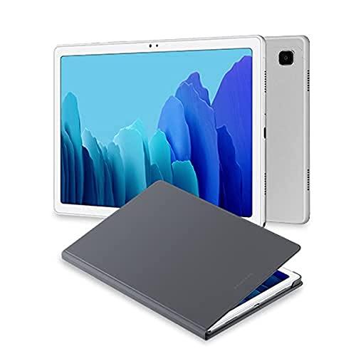 Samsung Galaxy Tab A7 Tablet de 10.4  FullHD (WiFi, Procesador Octa-Core Qualcomm Snapdragon 662, RAM 3GB, Almacenamiento 32GB) Plata [Versión española] + EF-BT500 Book Cover para Galaxy Tab A7, Gris