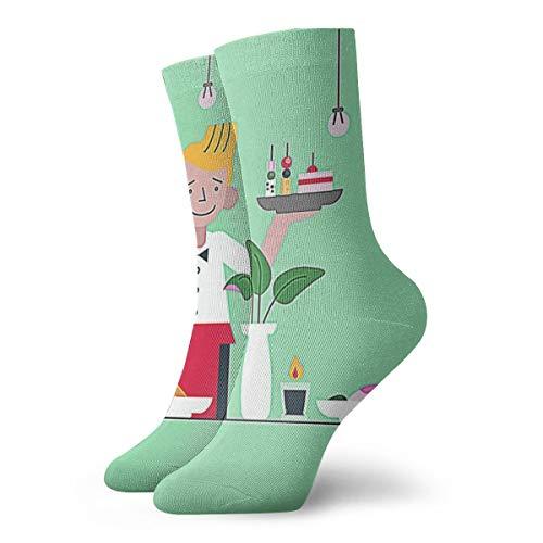 OUYouDeFangA Kellner-Socken für Vorspeisen, flache Illustration, Baumwolle, coole kurze Socken für Yoga, Wandern, Radfahren, Laufen, Fußball, Sport