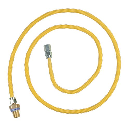 BrassCraft CSSL45R-72 P Safety PLUS Gas Appliance Connector with 3/8' OD EFV and 1/2' MIP x 1/2' FIP x 72'