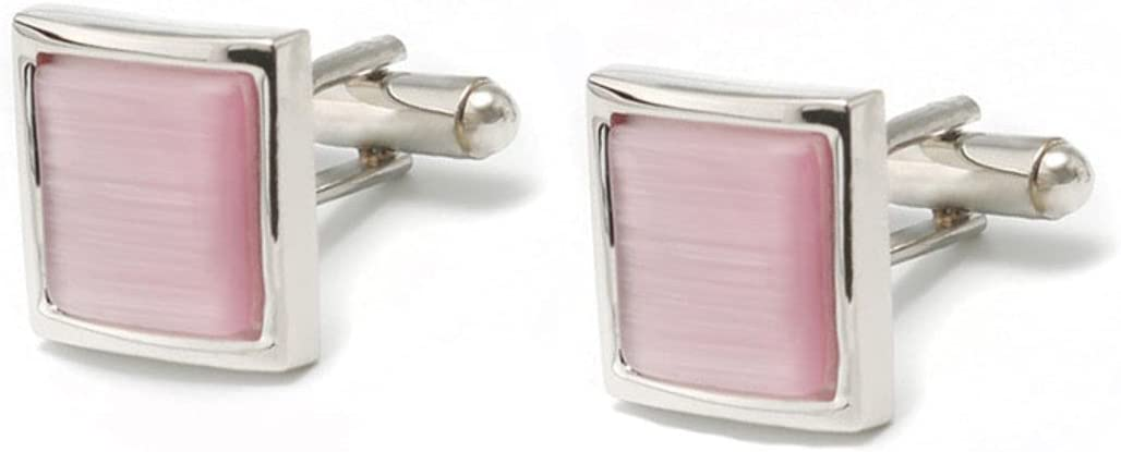 BO LAI DE Men's Cufflinks Square Pink Opal Copper Cuff Links Suitable for Business Events, Meetings, Dances, Weddings, Tuxedos, Formal Wear, Shirts, with Gift Boxes