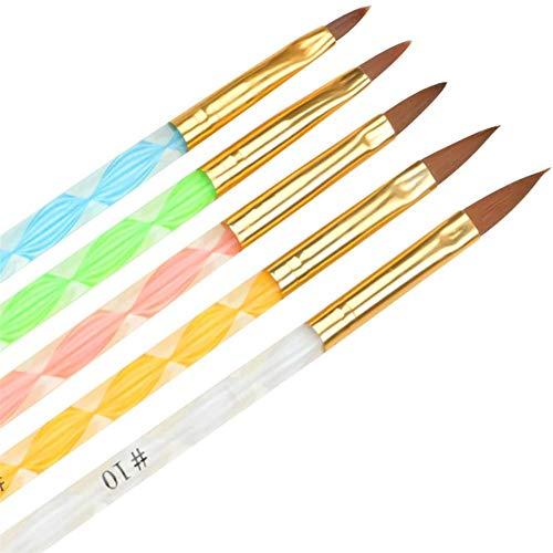 Feugole Acrylic Nail Art Brush, 5Pcs Poly Extension Gel Brush Art Design Dotting Painting Pen Set Nail Art Tips Builder Brush (Gold)