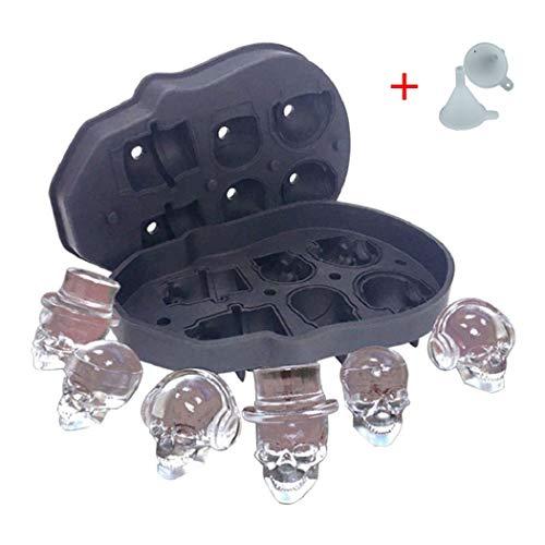 Vassoio per cubetti di ghiaccio con teschio 3D, rende sei vividi teschi, creatore di cubetti di ghiaccio flessibile per uso alimentare per ghiaccio di whisky, cocktail, bicchieri di gin