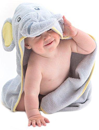 Little Tinkers World Toalla de bebé con capucha de elefante EXTRA SUAVE - Toalla de baño para bebé 100% algodón...