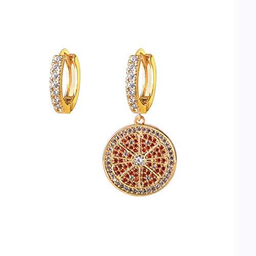 WEIXINMWP Copper earrings electroplating inlaid zircon earrings net red and orange children's earrings