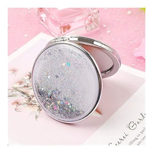 Miroir Maquillage Mini Mode 2-Face Miroir De Poche Creative Cosmétiques Miroirs Compact Avec Flowing Mousseux Sable (Color : Silver)