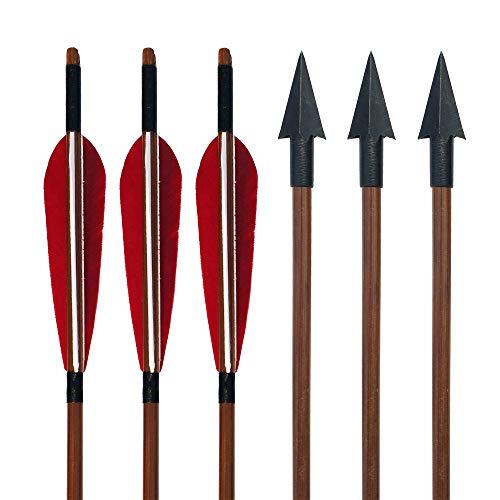 SHARROW 6 Piezas Tiro con Arco Flechas de Bambú con 5