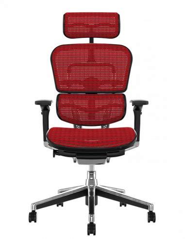 PROCOMFORT ERGOHUMAN Elite Poltrona ergonomica su Ruote di Ultima Generazione con regolazioni avanzate per Il settaggio della Postura più Confortevole (Rosso)