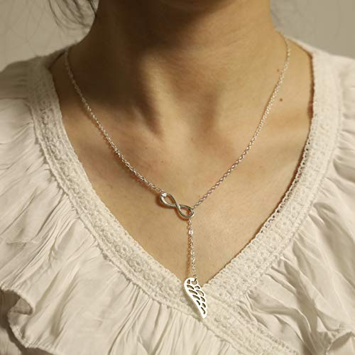 TseenYi Wing Pendant Necklace Silver 8 Shape Infinity Choker Necklace Long Y Necklace Chain Jewelry for women and Girls (Silver)