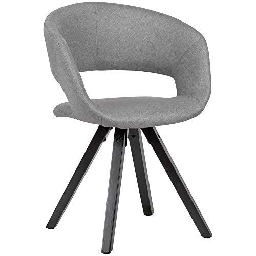 Wohnling Esszimmerstuhl Hellgrau Stoff mit schwarzen Beinen Retro Stuhl | Küchenstuhl mit Lehne | Polsterstuhl Maximalbelastbarkeit 110 kg