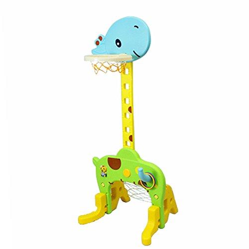 QINAIDI Kinder Basketball Ständer Fußballtor, Tragbare Basketball Rückenbrett Höhe Verstellbar, Spielset Jungen Indoor Outdoor Sports