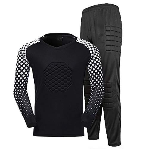YSPORT Antikollisions Fußball Torwart-uniform Kind Und Erwachsener Lange Ärmel Gepolstert Tops + Hosen Trainings (Color : Black, Size : L)