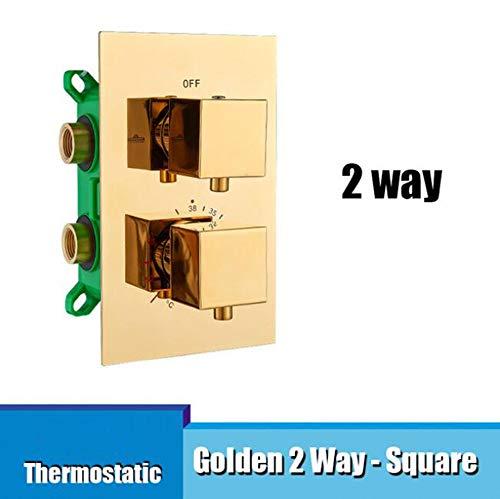 MICHEN Thermostat Embedded Box Wasserhahn Kartuschenventil Dreifach Kartuschen Wasserhahn Ventil 2 Wege 3 Wege Duschhahn Ventil für Duschpaneel,Golden2WaySquare