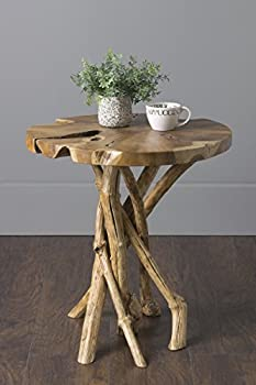 East at Main Dimitri Natural Contemporary Round Teak End Table