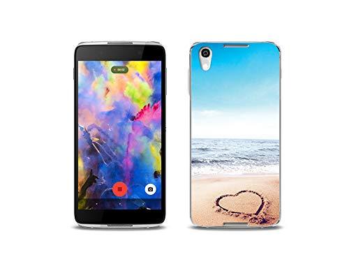 etuo Handyhülle für Alcatel Idol 4 - Hülle, Silikon, Gummi Schutzhülle - Herz auf Sand