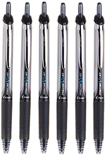 PILOT Precise V7 RT Refillable & Retractable Liquid Ink Rolling Ball Pens, Fine Point (0.7mm) Black Ink, 6-Pack (13616)