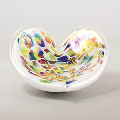 Glass Eye Studio Accent Clown Feather Heart Dish 4.5'