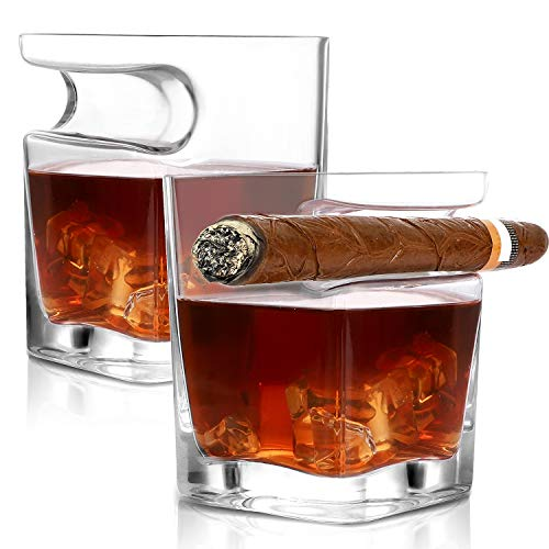 Cigar Whiskey Glass Cigar Cup Whiskey Tumbler with Side Mounted Holder Crystal Square Cup with Indented Rest Whiskey Gift for Men Set of 2 Whiskey Strong Wine Cup for Scotch Bourbon (14oz)