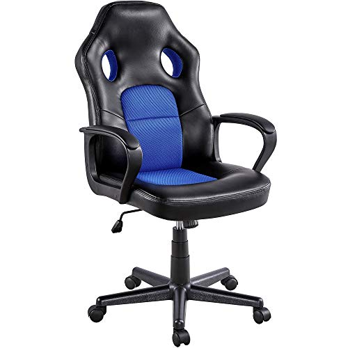Yaheetech Gaming Stuhl Schreibtischstuhl Ergonomisch Bürostuhl, Chefsessel gepolsterte Armlehnen, Wippfunktion, belastbar bis 150 kg, fürs Büro, Arbeitszimmer