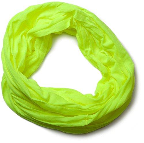 styleBREAKER Jersey Loop Schlauchschal in Crash Optik, Unifarben, elastisch 01016041, Farbe:Neongelb