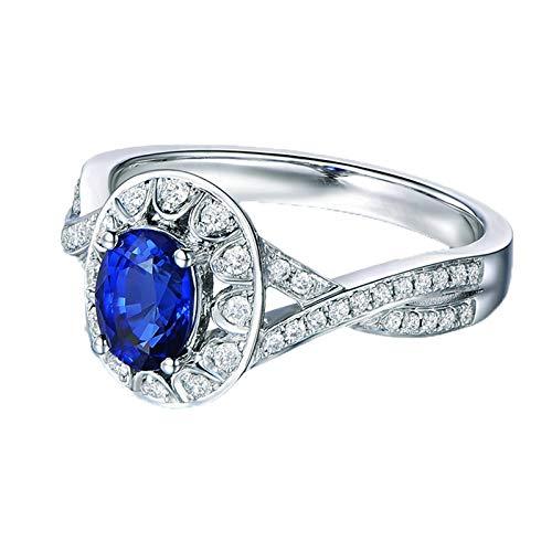 Bishilin Weißgold Ringe 18 Karat Unendlichkeit mit 1.18ct Saphir Verlobungsringe Hochzeitsring Damen Diamant 0.30ct Gr.49 (15.6)