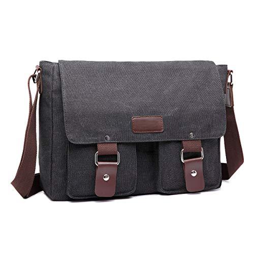 ERAY Bolso de lona para hombre, 34 x 9 x 27 cm, bolso bandolera para universidad, trabajo y viajes, gris (Beige) - E33