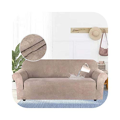 Hylshan Funda para sofá de tela de ante, color sólido, elástica, impermeable, para muebles de sala de estar, sofá elástico, para 2 plazas, color caqui