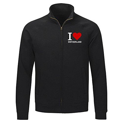 Multifanshop Sweatshirt Jacke Classic I Love Switzerland - schwarz - Größe S bis 2XL, Größe:XXL
