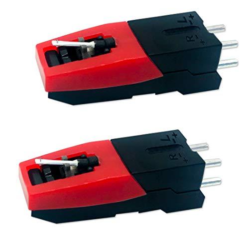 CKANDAY - Juego de 2 Cartuchos universales para Reproductor de grabación, Repuesto de Vinilo para Tocadiscos con Aguja y lápiz Capacitivo para Reproductor de grabación, fonógrafo