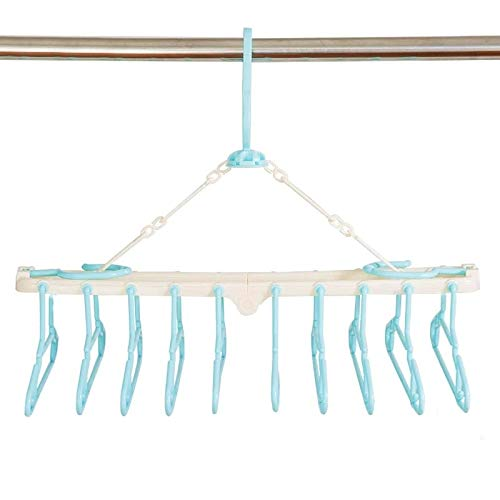 Sutekus赤ちゃん10連ハンガー キッズ ベビーハンガー ハンガーラック 洗濯ハンガー 折り畳み 取り外し10連ハンガー(ブルー)