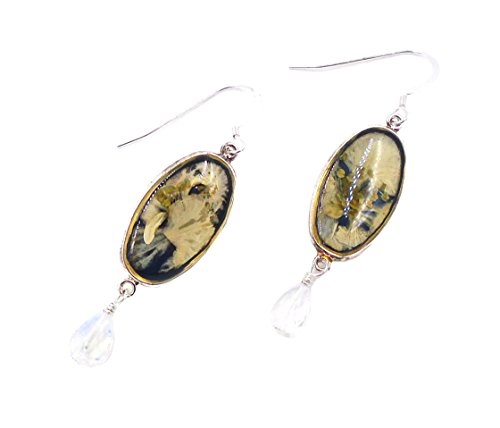 """""""White Larkspur"""" Floral Hanging Earrings by Shari Dixon"""