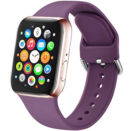 Amzpas Compatible Strap for Apple Watch 38mm 40mm 42mm 44mm, New Soft Sport Silicone Strap for iWatch Series 5,4,3,2.1