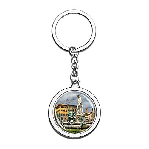 Hqiyaols Keychain Italien Piazza Della Signoria Brunnen Florenz Kristall Drehen Rostfreier Stahl Schlüsselbund Reisen Stadt Andenken Schlüsselring