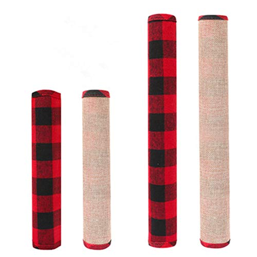 Chanhan - Juego de 4 fundas para manija de puerta de nevera, color rojo y negro, para horno, microondas, lavavajillas, puerta, protección
