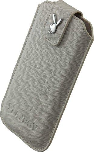 Playboy 13637 Hülle für Samsung i9300 Galaxy S3/i9505 Galaxy S4, HTC One Mini Größe XXL Cross Leder weiß
