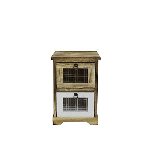 Rebecca nachtkastje wit hout bruin retro slaapkamer Home Decor - 43x30x30 (H x B x D) - Art. RE6101