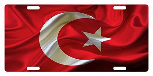 MNUT - Placa de matrícula personalizada con bandera de Turquía, 15,24 x 30,48 cm